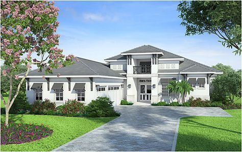 This 1 story Coastal Contemporary house plan features 4 bedrooms, 4.5 baths and a 3 car side entry garage. Other amenities include a great room, island kitchen with eating bar, laundry, study, private master suite and rear covered lanai with out door kitchen. Crestview Lake is designed with a slab foundation, CMU block