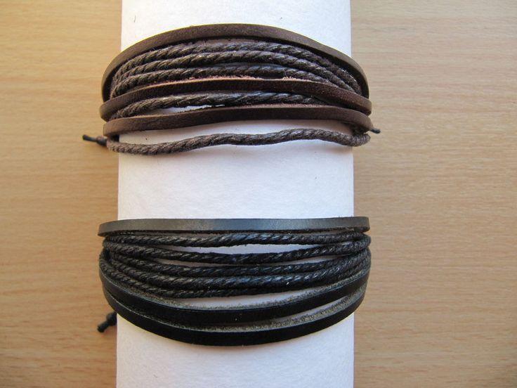 Mens Leather Surfer Bracelet Unisex Multi Strand, Unisex Tribal Ethnic