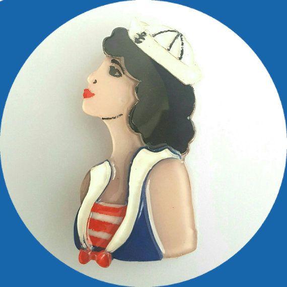 Pinup Sailor Girl Brooch, Vintage Inspired, Novelty brooch, Rockabilly, Pinup…