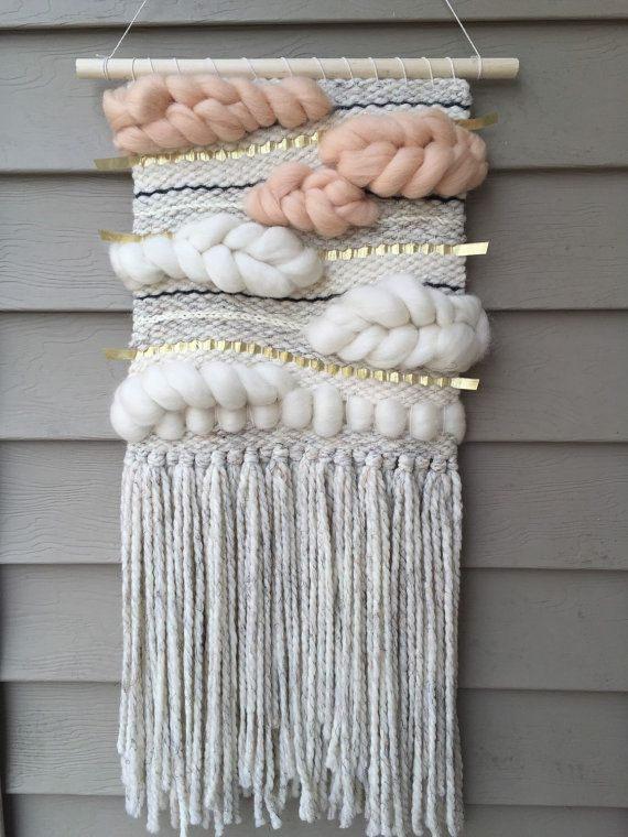 laine mèche wool roving Handmade Woven Wall Art par SunWoven sur Etsy