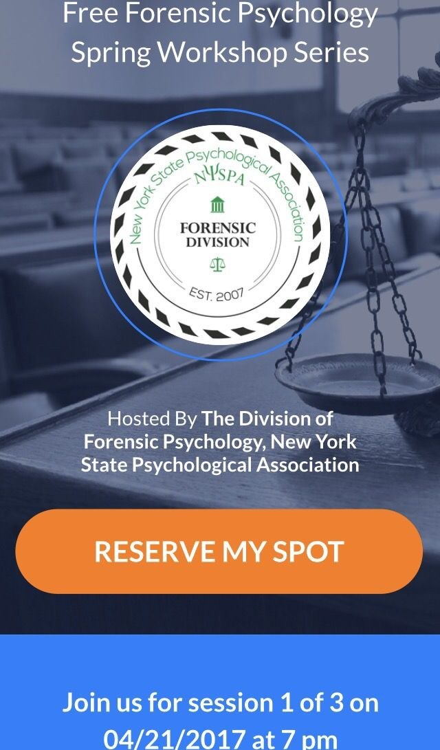 2nd to last reminder. Free forensic psychology workshop. NYC. Friday.