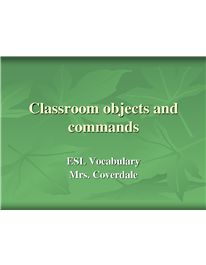 39 classroom objects and commands in pictures and examples on 26 pages