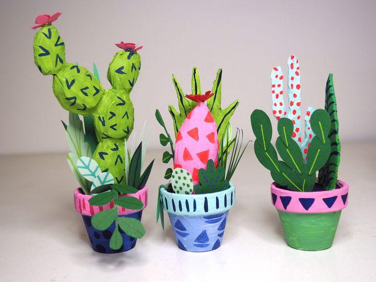 Papier mâché cactus - Kim Sielbeck