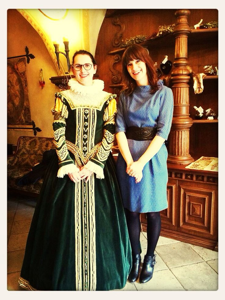 """""""I love your dress: thanks, it's a vintage dress from the 40's, and I love your dress too!"""" """"Thanks it's vintage from the 16th century"""" :-D Fascinating legends told by Radka at the Museum of Alchemie, 2nd oldest building in Prague! Shooting the 3rd episode of Praguing Around"""