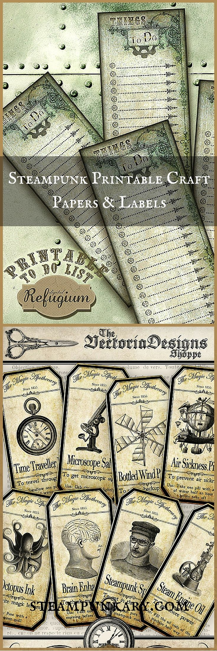Steampunk Printable Craft Papers and Labels
