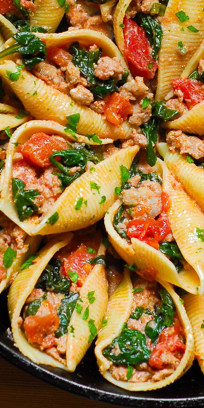 Stuffed Pasta Shells with Ricotta, Sausage, and Spinach
