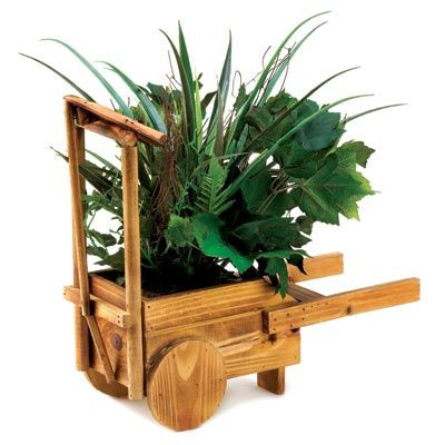 Woodcrafted Cart With Greenery
