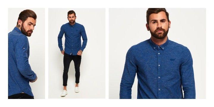 Blau meliert und bequem. Zwei Wörter, die dieses Hemd von Superdry bestens beschreiben. Button-Down-Kragen dazu und fertig ist ein Blickfang fürs Büro.