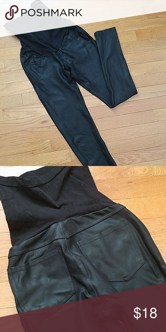 Faux leather maternity leggings by Jessica Simpson Full stretch panel leggings by Jessica Simpson from Motherhood Maternity. These are thick and look like skinny pants. There are pocket details on the back. They are tight yet have enough stretch to wear all through your second and third trimesters. I got so many compliments on these! Easy to wash and air dries. Currently sold at Motherhood Maternity. Refer to the website for more pics and description! Jessica Simpson Pants