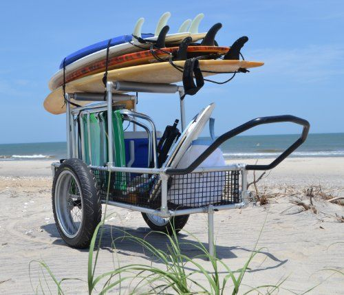 """Multifunction Beach Cart - Bicycle Trailer Cart - Cargo Carrier Cart - Heavy Duty Aluminum /Stainless Steel Framing and Hardware - Lightweight >50lbs - 20"""" x 4.25"""" Extra Wide Tires mounted Aluminum Rims and Hubs with Stainless steel spokes and sealed bearings - PVC Coated Wire mesh Cargo area - Options for Uprights to store gear above cargo area, Vehicle Cargo Carrier Attachment, Bicycle trailer attachment Evrday Carts,http://www.amazon.com/dp/B00DDSXQL6/ref=cm_sw_r_pi_dp_Oawetb00ECZ27P34"""