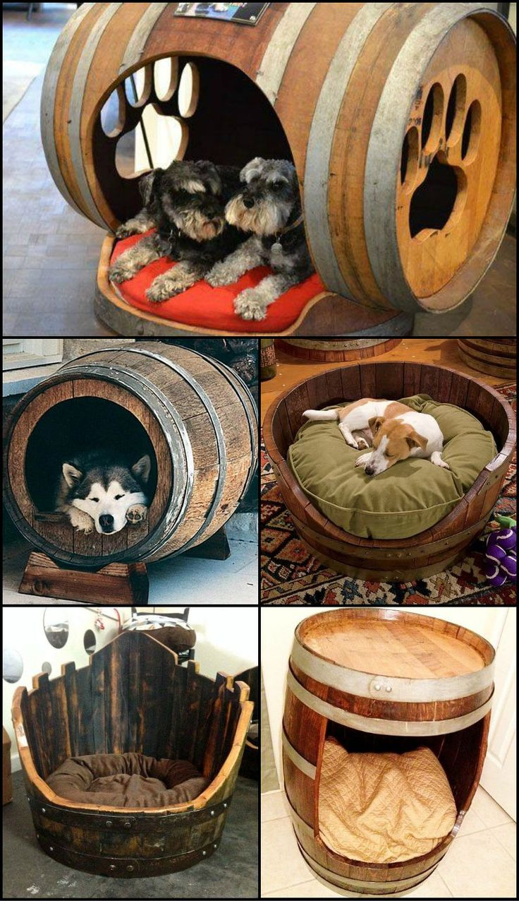 "Cute? Will this work with your pampered pooch or will it still demand your side of the bed?  There are lots of ways of repurposing wine barrels. View them on our ""Recycled Wine Barrels"" album at http:"