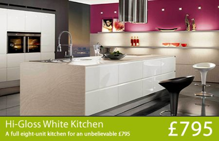 Cheap Kitchens UK, Worktops For Kitchens, High Gloss Kitchens, Hi Gloss Kitchens, Designer Kitchens, Fitted Kitchens