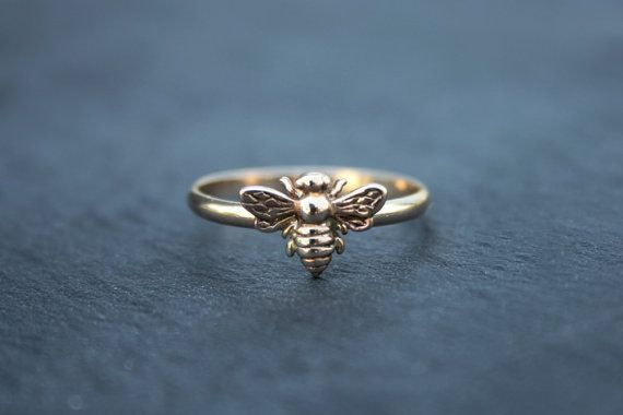 Bee Stacking Ring - minimalist style in silver or gold by UntamedMenagerie