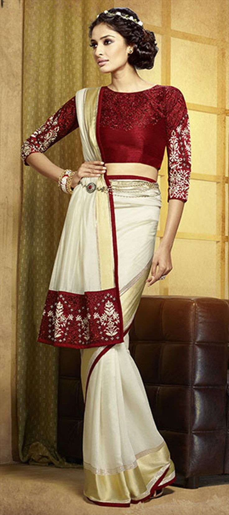 185955: Red and Maroon,White and Off White color family Embroidered Sarees,Party Wear Sarees with matching unstitched blouse.