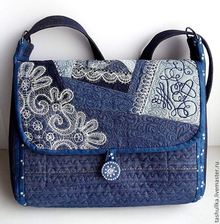 Сумка джинсовая женская через плечо. Кружевная - сумка,сумка женская,сумка джинсовая