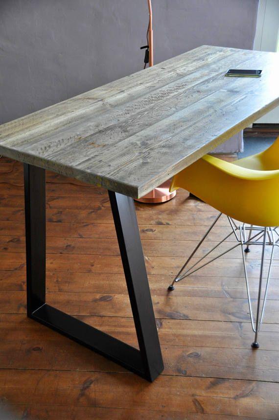 Desk Reclaimed Industrial Custom Steel Legs Rustic Scaffold Board