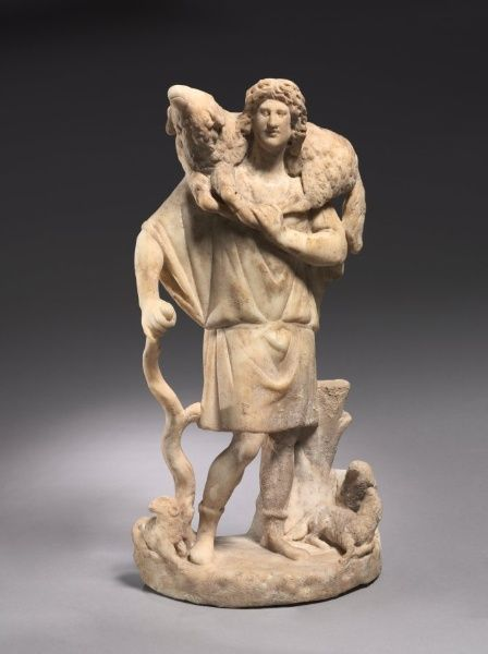 SCULPTURE: The Good Shepherd, late Roman, Asia Minor, early Christian, 3rd century. Cleveland Museum of Art. n the earliest Christian art, there are no depictions of Jesus, except symbolically, as the Good Shepherd and others. The Good Shepherd as an image of Jesus persisted until about 500 AD.