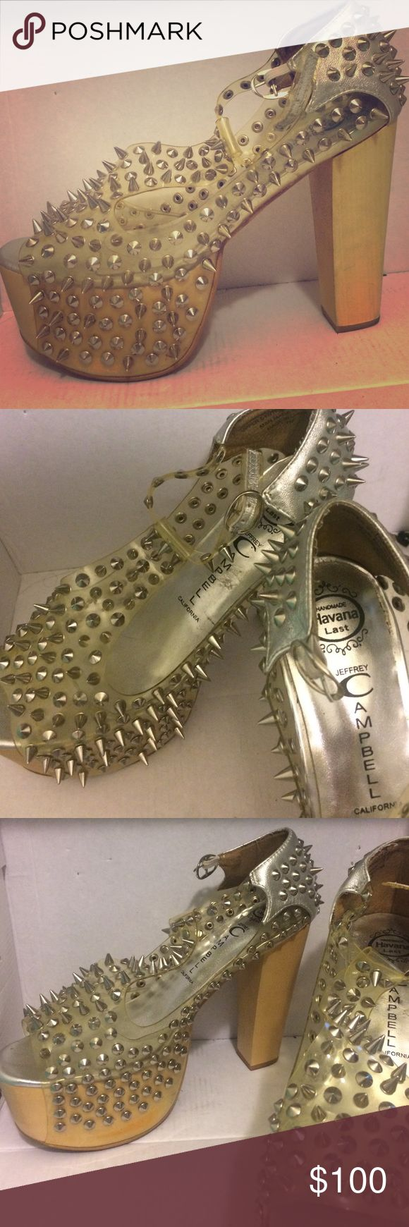 Jeffrey Campbell spiked heels Silver metal spikes, wood platform heels, upper synthetic leather Jeffrey Campbell Shoes Platforms