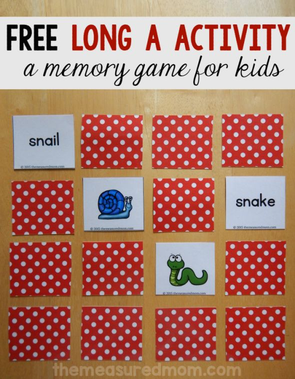 Free Long A Game For Beginning Readers And Spellers Memory Games KidsLearning