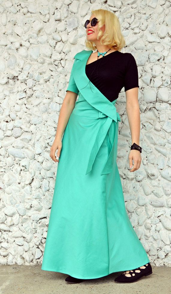 Long Emerald Dress / Extravagant Emerald Dress / Elegant Emerald Dress with Black One Shoulder Top / Elegant Lapel Dress TDK177 / S/S 2016