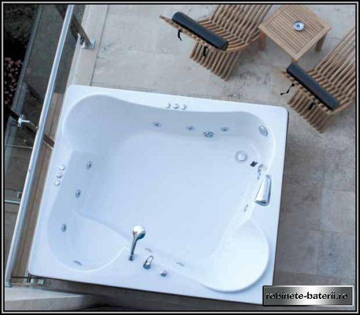 Cada baie dubla Duo 190 x 160 cm cu suport
