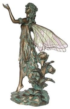 $53 10 Inch Cold Cast Bronze Finish Fairy with Crystal Clear Wings Statue transitional-artwork