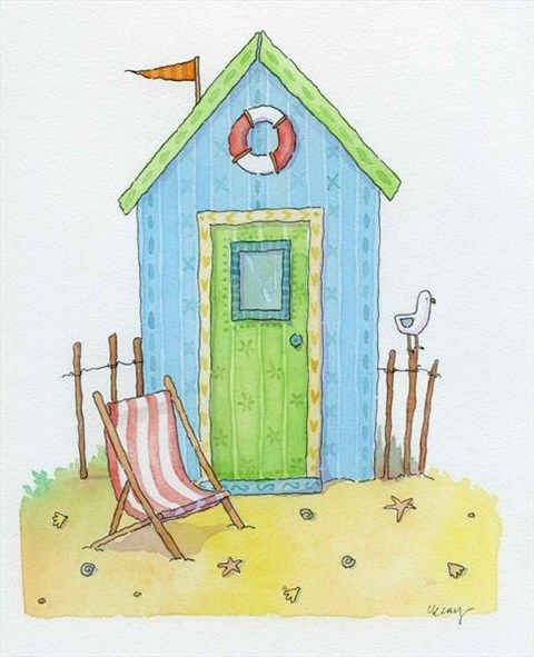 Beach Hut by Claire Keay, an original watercolour painting for sale!