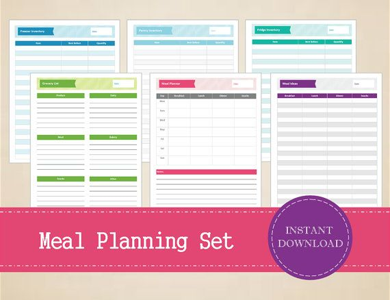 Meal Planning Set  Meal Planner  Shopping by MBucherConsulting