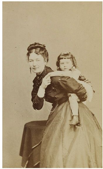 Victorian Piggyback...Wonderful post Civil War 19th century CDV of Mother and child, great pose!!!