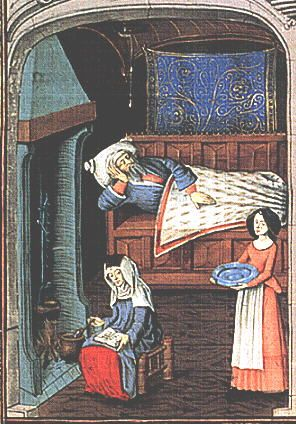 A Feast For The Eyes  22. A medicinal drink being prepared at the hearth. Quart volume de histoire scolastique, J. du Ries; Flemish, 1475.