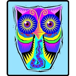 Southwestern Designed Owl - Etched Vinyl Stained Glass Film, Static Cling Window Decal