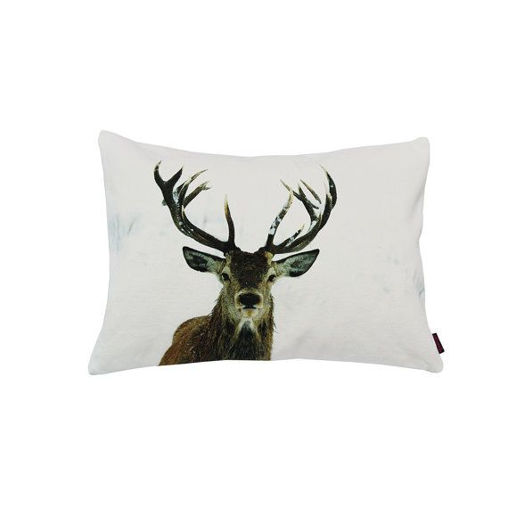 Handmade Designer Snow Stag Cushion by Textiler