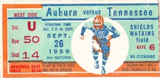 1959 AUBURN vs. TENNESSEE football ticket on canvas.  I just found Dave's Christmas present.  Shhhhh..... don't tell!!  :)