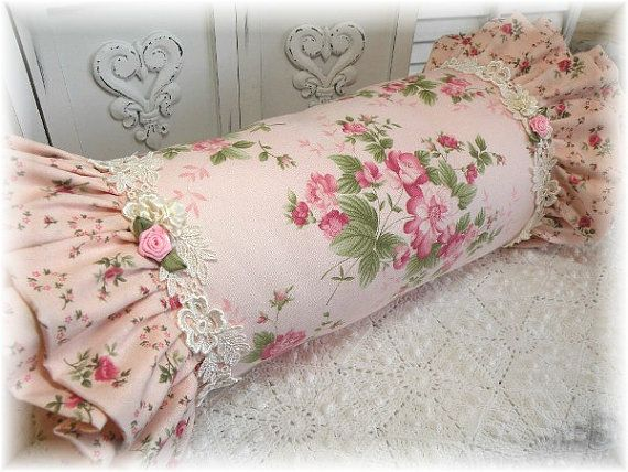 Shabby Romantic Cottage ROLL PILLow Pink by MarionberryCottage, $55.95