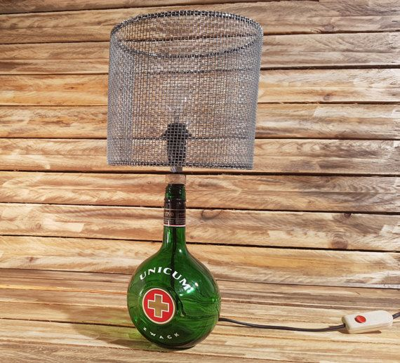 Unicum bottle table lamp - lighting, vintage, lights, industrial, steampunk, unique, recycling, loft, upcycling