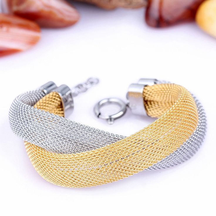 316L surgical stainless steel 18K Gold Filled Mesh Bracelet with Lobster Claw Clasp Connector by UniqueMeDiscovery on Etsy