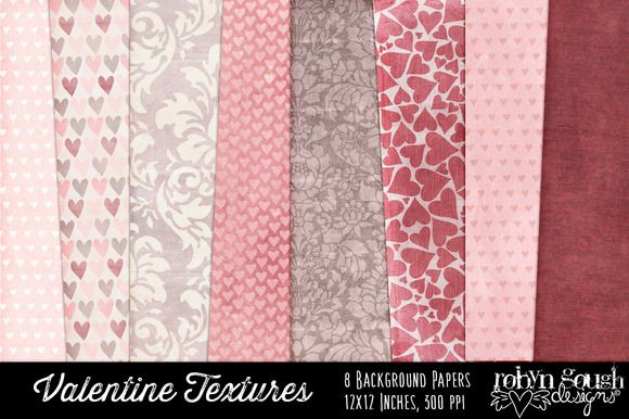 """This shabby Valentine Love Digital Texture Pack features pretty chic white, pink red and brown romantic patterns to suit a large variety creative projects. These textures are ideal for printing onto card stock, or using for creating invitations, web design, digital scrapbooking or card making. The Valentine Digital Scrapbook Papers are a must have item for every romantic. All backgrounds are 12"""" x 12"""" 300 dpi jpg."""