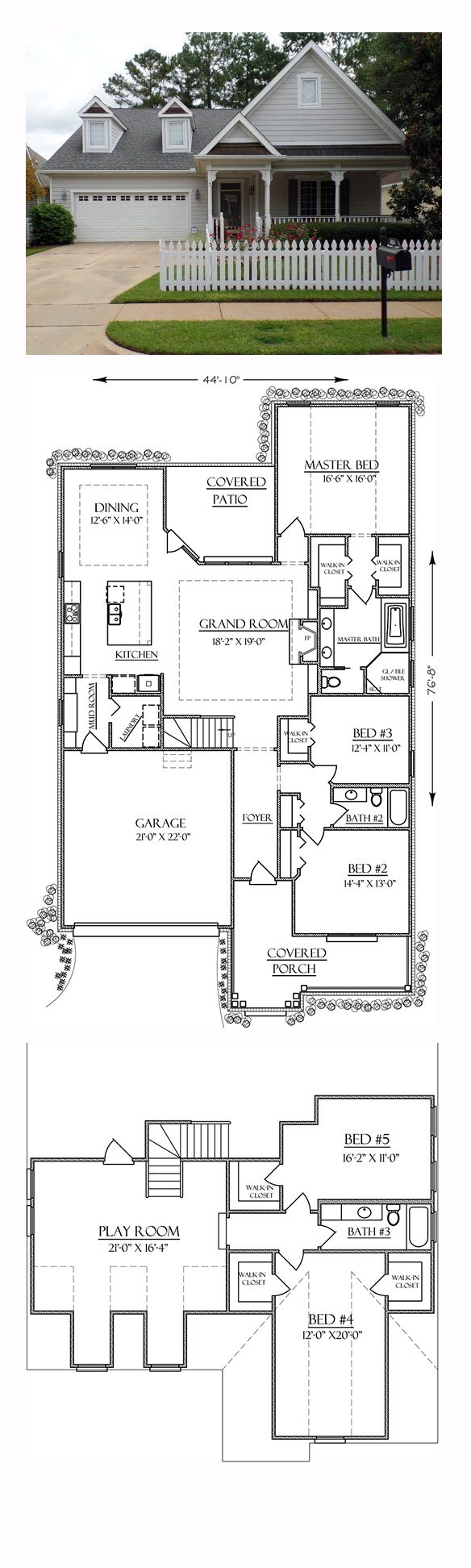 Bungalow country traditional house plan 74756