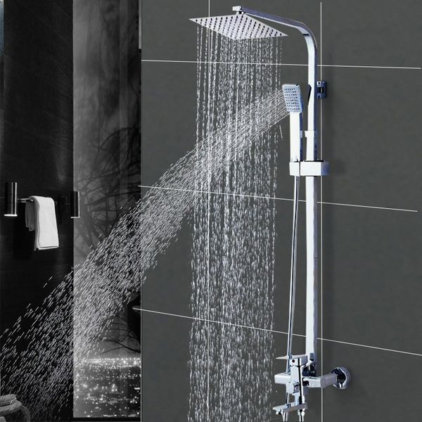 Shower Faucet Wall Mounted Bathroom Rainfall Style Shower System Tower Panel Set Faucet Tub Handheld Sprayer Shower Faucet Sets Shower Faucet Bathroom Faucets