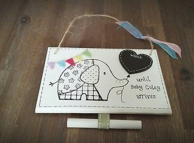 Pregnancy countdown plaque, new baby personalised