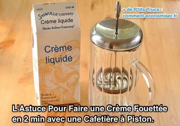 Il existe une astuce facile pour préparer une délicieuse crème fouettée maison — en seulement 2 min ! L'astuce est d'utiliser une cafetière à piston pour faire de la crème fouettée en 2 min  Découvrez l'astuce ici :http://www.comment-economiser.fr/astuce-pour-faire-creme-fouettee-avec-cafetiere-piston.html?utm_content=bufferf304f&utm_medium=social&utm_source=pinterest.com&utm_campaign=buffer