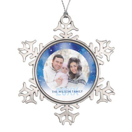 Personalized Photo Ornaments | Pewter Snowflake - photo gifts cyo photos personalize