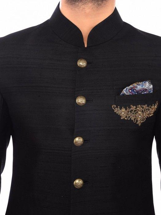 Shop Plain black raw silk wedding wear men sherwani online from G3fashion India. Brand - G3, Product code - G3-MSH0083, Price - 12995, Color - Black, Fabric - Raw Silk,