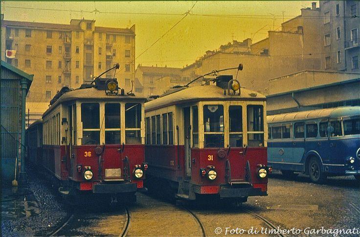 ...tranvia intercomunale Milano-Gallarate, motrici  STIE-36 e 31 - deposito di Milano - 20 giu 1964 - © Umberto Garbagnati -