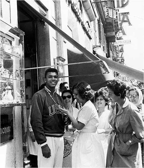 Eighteen-year-old Muhammad Ali in Italy after winning the gold medal in the light heavyweight division at the 1960 Summer Olympics in Rome.