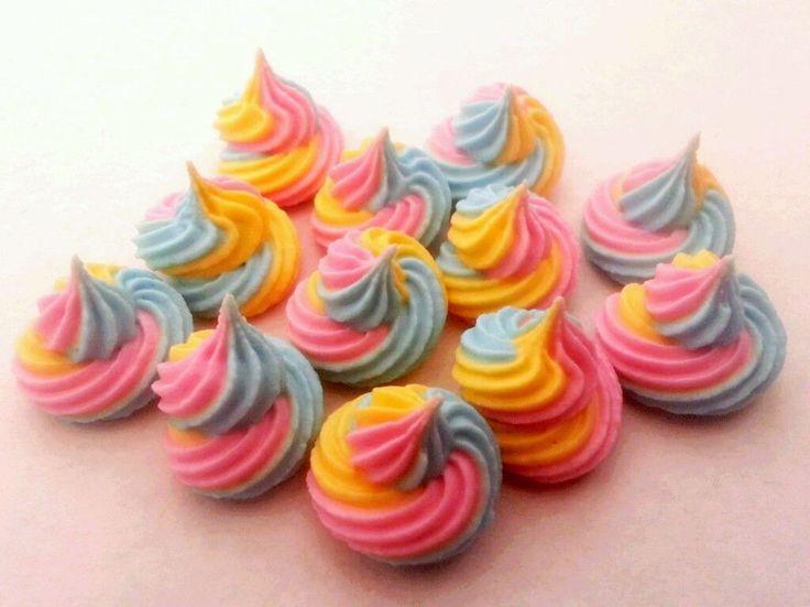 12 Unicorn Farts Edible Sugar Cake Topper Decorations Rainbow Swirls 2cm | eBay