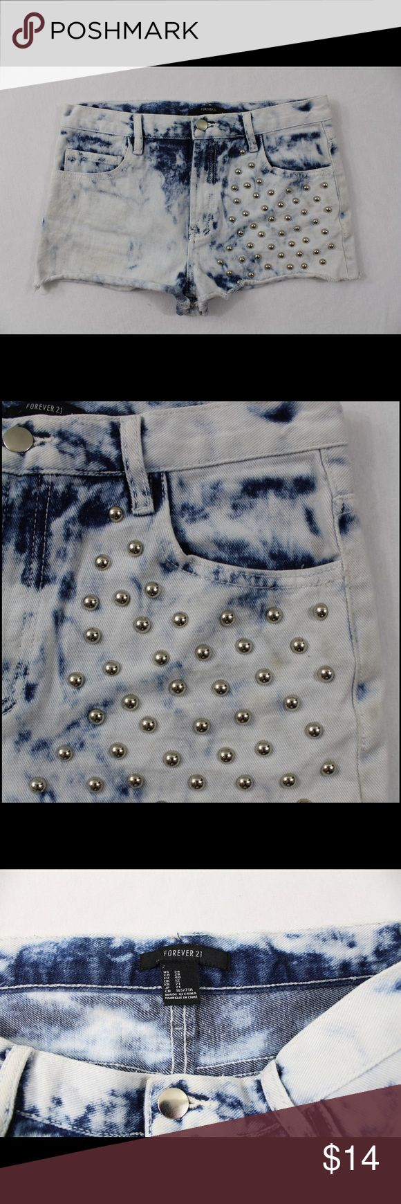 Forever 21 embellished acid wash shorts size 28 These are super cute acid washed Forever 21 shorts in a size 28 (around a 7 I believe) Excellent condition! Waist: 30in. Hips: 37in. Forever 21 Shorts Jean Shorts