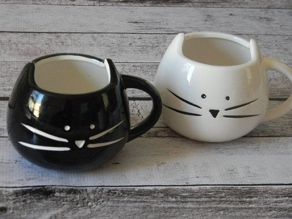 ADORABLE black or white cat mug kitty coffee tea cup cat lover enthusiast pet owner gift