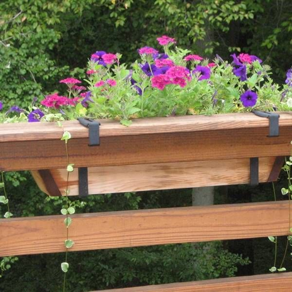 Plant Pot Bracket Hang On The Wooden Deck Rail For Large Flower