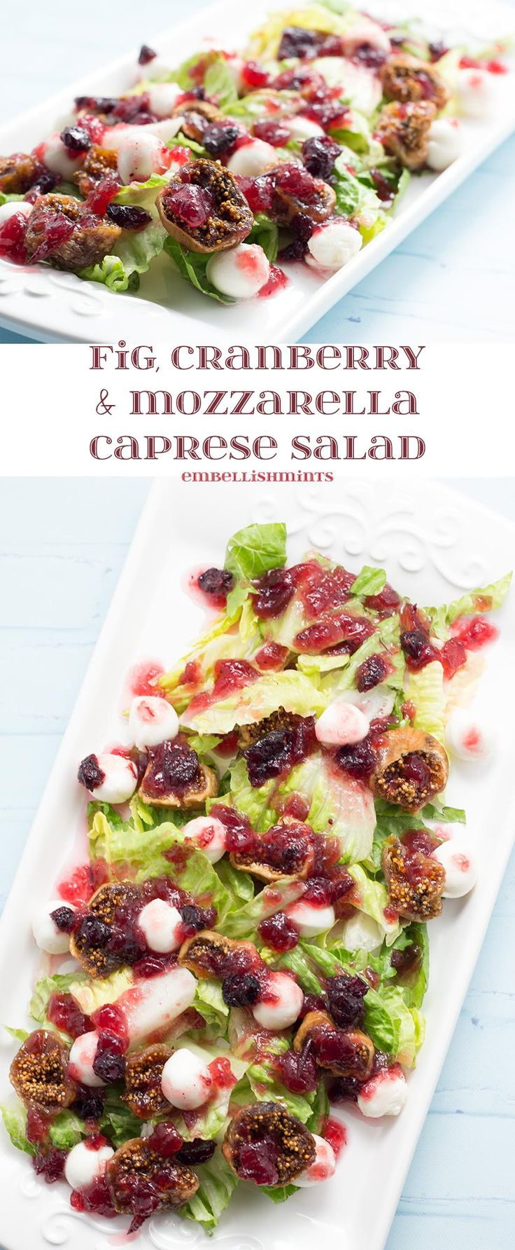 Fig Cranberry Mozzarella Caprese Salad will make a huge statement at your next party. Less than 5 ingredients, made in less than 30 minutes! You'll love it! www.Embellishmints.com